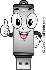 Mascot Happy USB Drive Thumbs Up