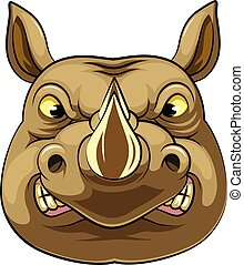 Mascot Head of an aggressive rhino