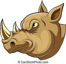 Mascot Head of an angry rhino