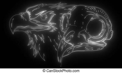 Mascot Head of an Eagle digital neon video - Mascot Head of ...