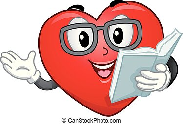 Illustration of a Red Heart Mascot Wearing an Eye Glasses Reading a Story Book