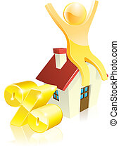 Mascot house percent concept of man sitting on house with...