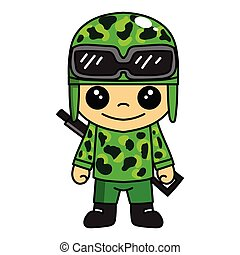 mascot illustration of cute army or soldier cartoon character