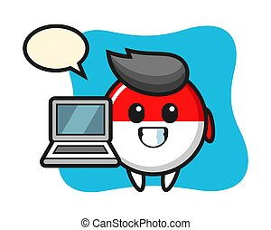 Mascot illustration of indonesia flag badge with a laptop