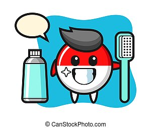 Mascot illustration of indonesia flag badge with a toothbrush