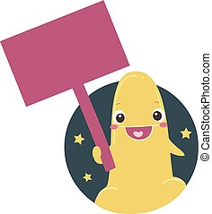 mascot, køn, stykke legetøj, planke, signage, illustration