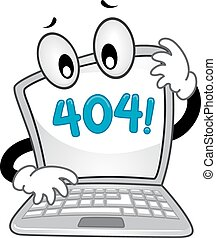 Mascot Laptop Error - Mascot Illustration of a Confused...