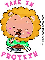 Mascot Lion Eat Meat Protein