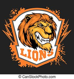 Mascot Lions - sport team logo template. Lion head on the...