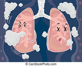 Mascot Lungs Smoke Cough - Mascot Illustration of a Pair of...