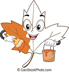 Mascot Maple Leaf Paint Coloring