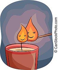 Mascot Match Stick Candle Litting up Flames