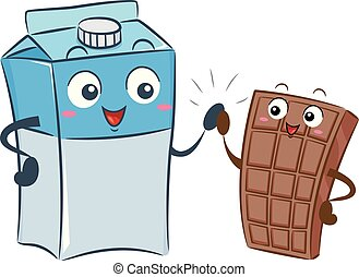 Illustration of a Milk Box Mascot High Five with a Chocolate Bar Mascot