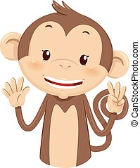 Mascot Monkey Count Eight 8