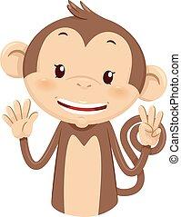 Mascot Monkey Count Eight 8