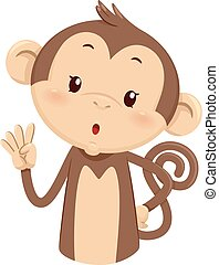Mascot Monkey Count Four 4