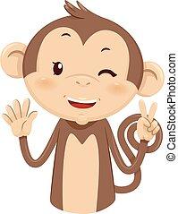 Mascot Monkey Count Seven 7