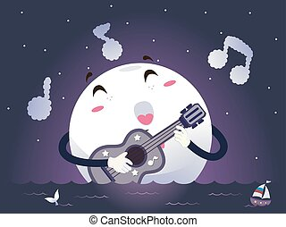 Mascot Moonlight Guitar Song - Romantic Illustration of a...