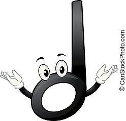 Mascot Music Half Note Illustration