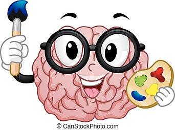 mascot, nerdy, hjerne, maling