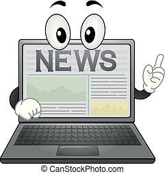 Mascot News Laptop Illustration