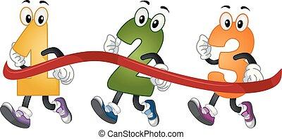 Mascot Numbers Run Marathon Illustration
