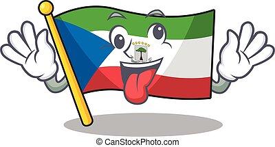 Mascot of crazy face flag equatorial guinea Scroll Cartoon ...