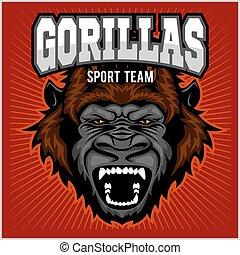 Mascot of gorilla head - sport team
