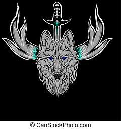 Mascot of head wolf