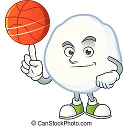 Mascot of snowball cartoon character style with basketball