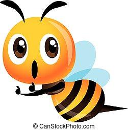 mascot, oppe, illustration, cute, udtryk, bi, tommelfinger, ophids, vektor, karakter, cartoon, -