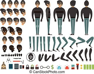 Mascot or character design of bandit. Vector creation kit with specific elements and different body parts