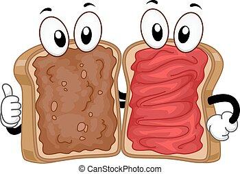 Mascot Peanut Butter Jam Sandwich - Mascot Illustration of a...