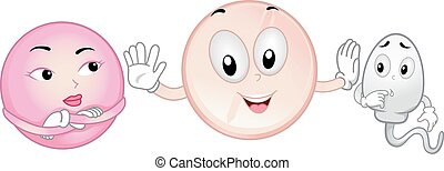 Mascot Illustration Featuring a Contraceptive Pill a Sperm and an Egg Cell