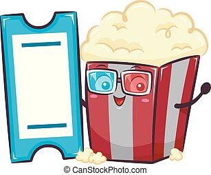 Mascot Popcorn Glass Ticket 3D Illustration