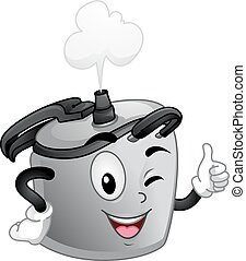 Mascot Pressure Cooker Okay Sign - Mascot Illustration of a...