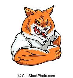 mascot, ræv, etikette, hold, rød, design.