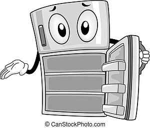 Mascot Illustration of an Empty Refrigerator Showing its Insides