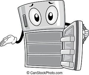 Mascot Refrigerator Empty - Mascot Illustration of an Empty...
