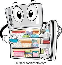 Mascot Refrigerator Open Full - Mascot Illustration of a...