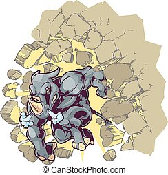 Vector Cartoon Clip Art Illustration of a Crouching Anthropomorphic Mascot Rhino or Rhinoceros Crashing through a wall.