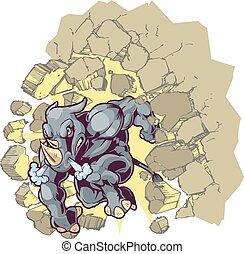 Vector Cartoon Clip Art Illustration of a Crouching Anthropomorphic Mascot Rhino or Rhinoceros Crashing through a wall.