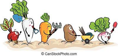 Mascot Root Crops Garden Tools Illustration