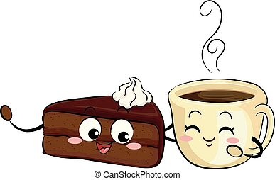 Mascot Sachetorte Cake And Coffee Illustration -...