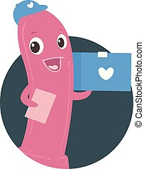 Mascot Sex Toy Package Delivery Illustration