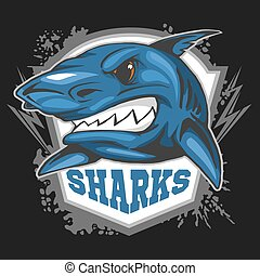 Mascot Sharks - emblem for a sport team. Vector illustration