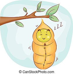 Mascot Sleeping Caterpillar Cocoon - Mascot Illustration of...