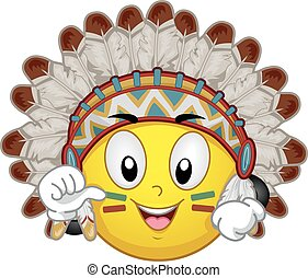 Mascot Smiley Indian Chief Illustration