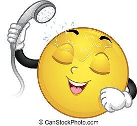 Mascot Smiley Shower Illustration