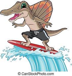 Mascot Spinosaurus Surfer